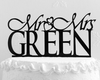 Mr and Mrs Green Wedding Cake Topper, Personalized with Last Name