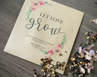 Let love grow flower seed wedding favours