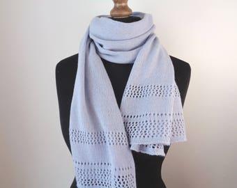 Alpaca scarf Light lavender alpaca wool scarf shawl Knit wrap scarves Knitted wool scarf Cover up Shawl wrap