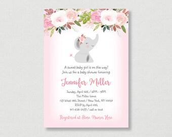 Pink Elephant Baby Shower Invitation / Elephant Baby Shower / Floral Baby Shower / Watercolor Floral / PRINTABLE A445