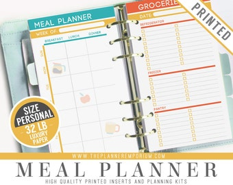 Personal Meal Planner Inserts (PRINTED) - Fits Kikki K Medium, Filofax Personal Pages - Weekly Menu Planner, Recipe Cards & Grocery Lists