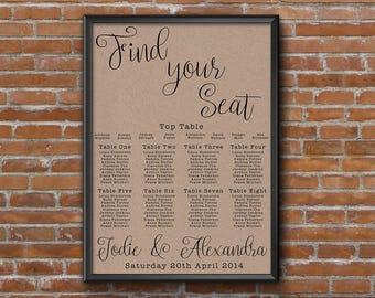 Simple Floral Kraft Illustrated Wedding Seating Chart Table Plan - Poster Print - Digital Download - Wedding Printable - Table Plan