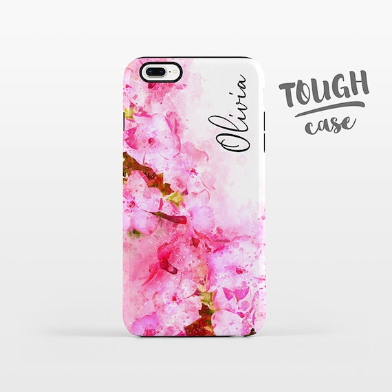 Watercolor Floral NAME Custom iPhone Case Personalized iPhone 8 Plus Case iPhone X Case iPhone 7 Case iPhone 6 Plus iPhone 6s Pink Flowers