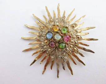 Little Nemo gold tone sunburst brooch pastel rhinestones AA912