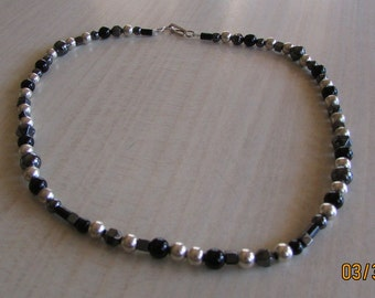 """Sterling Silver Black Onyx and Hematite 14 1/2"""" Bead Necklace"""