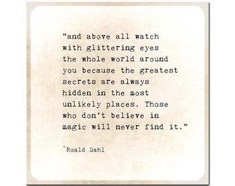 Roald Dahl Quote Glittering Eyes Quote Art Print, Grad Graduation Gift, Inspirational Wall Art, Nursery Decor Print Poetry Art Book Page Art