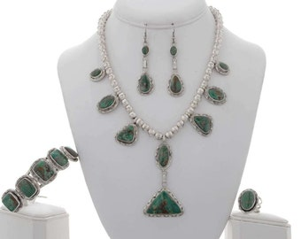 Moss Green Turquoise Y Necklace Set Earrings Ring Cuff
