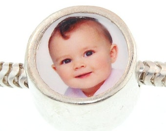 Double Sided Round Photo Bead  -  Solid Sterling Silver