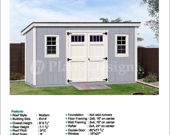 6u0027 X 14u0027 Garden Storage Modern Roof Style, Shed Plans / Blueprints,  Material List And Step By  Step Instructions Included #D0614M