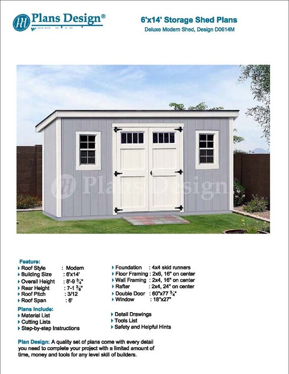 6 x 14 Garden Storage Modern Roof Style Shed Plans Blueprints – Modern Garden Shed Plans