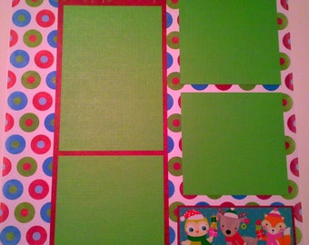 SALE!! Christmas Pre-Made 12x12 Page, Scrapbook, Happy Holidays Scrapbooking