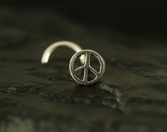 Peace sign sterling silver nose screw/nose stud/nose ring