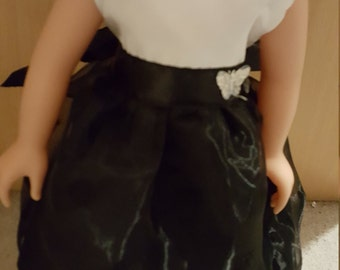 American girl, 18 inch doll, DesignaFriend Dolls dress. Pink and White. Brand new. Black and White fabric dress. Dolls clothes American Girl