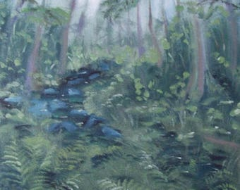Landscape Oil Painting |Original oil paintingl| Forest Landscape| Forest Stream |Charming Fern |Magic Forest|Mysterious Forest