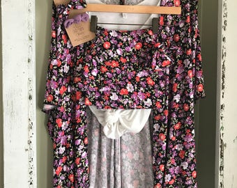 Black and floral coming home set
