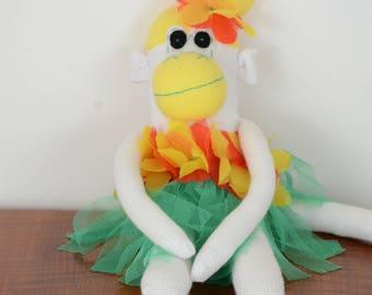 Yellow Hula Sock Monkey, Sock monkey doll, stuffed animal, kids toy,