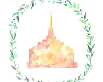 Ogden, Utah LDS Temple watercolor painting