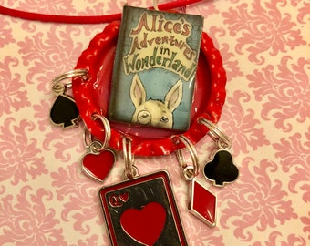 Alice in Wonderland bottle cap necklace with charms
