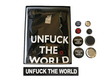 Unf*ck the World Boxed Set - Tee (Gildan or Bella); or Bella Brand Flowy Tank; with Bumper Sticker, and One Each S & L Pins and Magnets