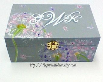 hand painted,personalized,keepsake box,gray,grey,white,pink,purpledandelions,girl's memory box, baby's keepsake box, personalized  baby gift
