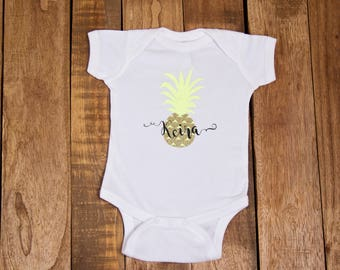 Personalized Glittery Pineapple One-Piece