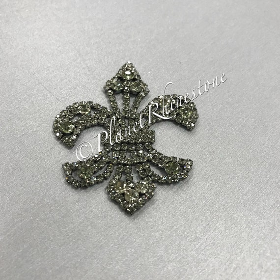 Black Fleur De Lis Rhinestone Applique #AS-14