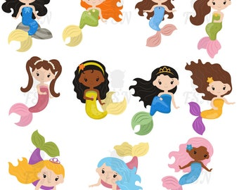 Mermaid clipart, vector graphics, digital clip art, digital images. Mermaids made in cartoon style.