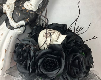 New Custom Halloween Skull Bridal Bouquet, Walking Dead Bridal Bouquet, Zombie Bridal Bouquet