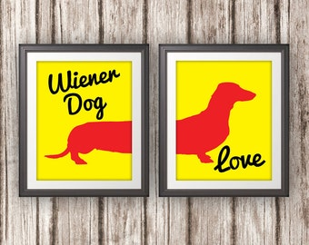 Wiener Dog Love, Wiener Dog, Dachshund, Wiener Dog Print, Wiener Dog Art, Wiener Dog Poster, Dog Print, Dog Art, Dog Poster - 8x10