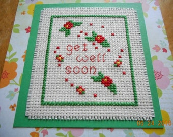 get well cross stitch  card red flowers  Get Well Soon