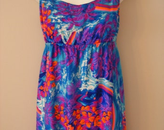 Hawaii Vacation Getaway / Vibrant Blue Purple Neon Colored / Vintage Dress / Vintage Wedding / Boho Style Maxi Dress