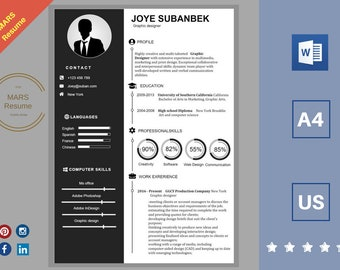 Creative Resume Template | CV Template | Cover Letter | For MS Word /  Instant Download | Modern Resume Design |