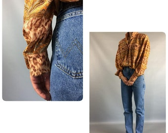 Escada Leopard Print 90s Vintage Blouse Gold Tan Designer Womens Shirt Medium Sz 8 US Slouchy Formal Long Sleeve Shirt Day Summer Blouse VTG