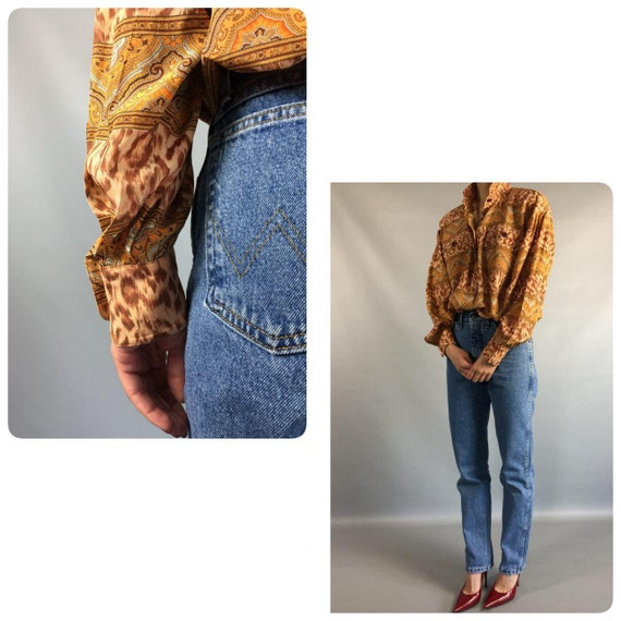 Day 8US Sleeve Long Summer Designer Blouse Medium Blouse Vintage Leopard Slouchy Shirt Gold Womens 1990s Print ESCADA Tan 10UK Shirt Formal 0HRUaPc0Z