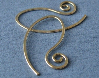 Interchangeable Earrings, Handmade 14k Yellow Gold Filled or Rose Gold Filled Swirly Leafette Earwires - Your Choice of color