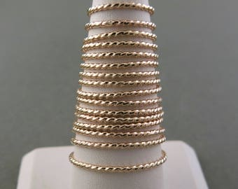 14K Gold Fill Twisted Stacking Ring
