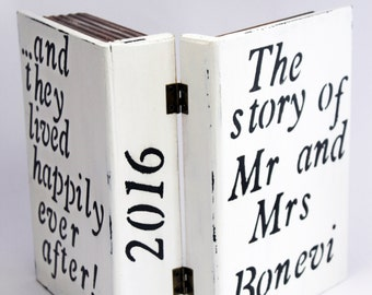 Wooden memory keepsake, personalized wedding gift, bridal shower gift, wedding couple, mr and mrs, wooden box book, groom and bride gift