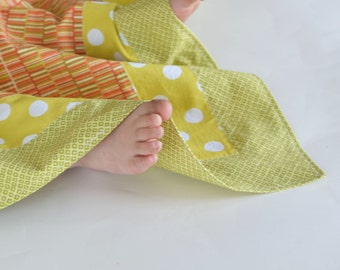 SALE - Patchwork Baby Boy Blanket, Lightweight Cotton, Shapes