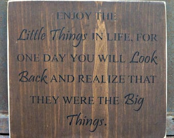Enjoy The Little Things Sign   Farmhouse Sign   Family Sign   Baby Shower Gift   Home Decor   Wall Decor   Mantel Decor   Home Decor Gift