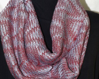 Handwoven Tencel Network Twill Cowl in Red and Silver OOAK