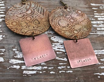 Metal and Leather Earrings-Weathered-Speak Truth-Boho Earrings-Breathe