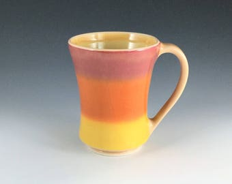 Orange Ceramic Mug, Porcelain Mug, Orange Yellow Ombre Mug, Ceramic Coffee Mug, Ombre Tea Mug, Wheel Thrown Pottery Mug, Ceramic Coffee Cup