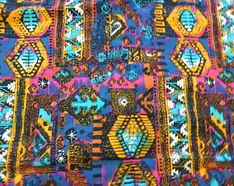 VINTAGE 1980's Southwestern Multicolor Print Fabric by S Shamash & Sons Inc. - available