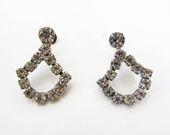 1950s vintage chandelier rhinestone drop silver screwback teardrop earrings