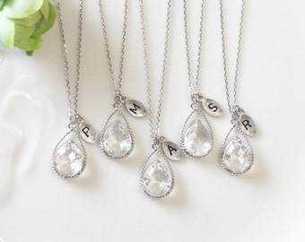 Bridesmaid gifts - Set of 4,5,6  -Leaf initial, Clear crystal drop necklace, Gorgeous Drop ,stone in twisted bezel,Initial necklace