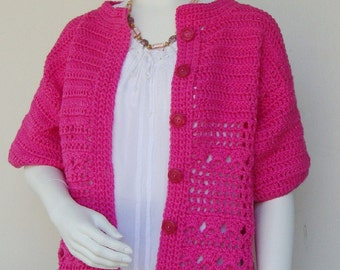 Crochet Cardigan, Pink Cardigan, Cotton Cardigan, Crocheted Cardigan, Cardigan Sweaters, Phlox Red Cotton Cardigan, Available in M and L