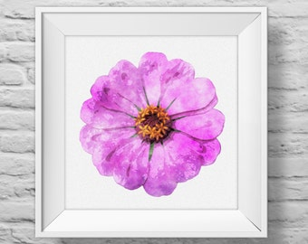 ZINNIA IN PURPLE unframed square art print, inspirational, nature, floral, watercolor, photography, wall decor. (R&R0099)