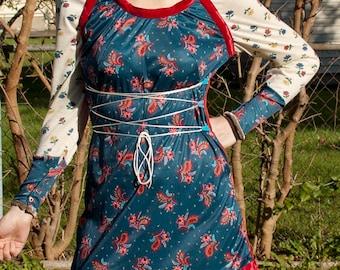 Gunne Sax /70s raglan style turquoise paisley polyester renaissance mini dress