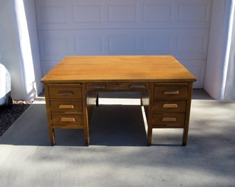 Antique Art and Crafts, Mission Style Oak Partners Desk. Circa 1920's - Offers Welcome!