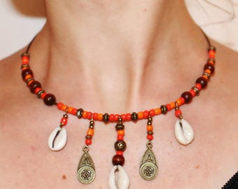 Necklace ethnic cowrie shells